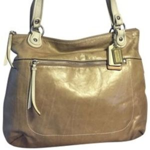 Coach poppy glam large leather spectator t…